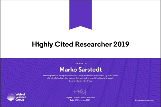 2019 Highly cited researcher_Sarstedt